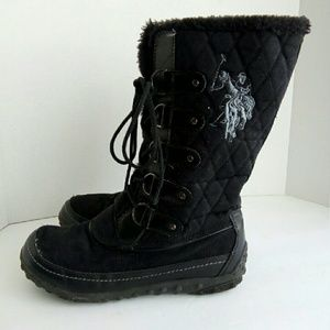 US Polo Assn quilted faux fur lined winter boot